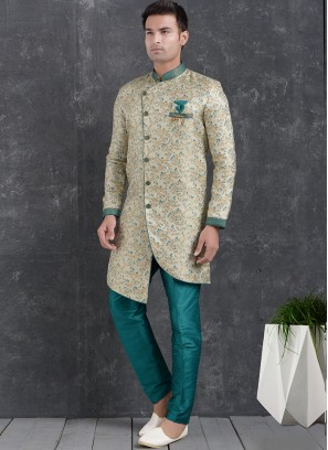 Cream Color Function Wear Indo Western Kurta Pajama