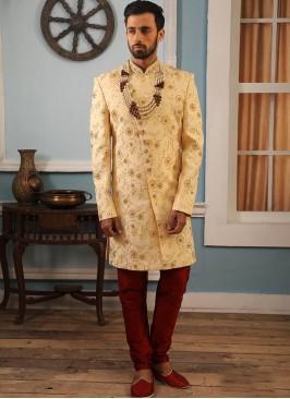 Cream Color Function Wear Indo Western Suit