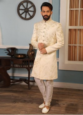 Cream Color Function Wear Indo Western Suit