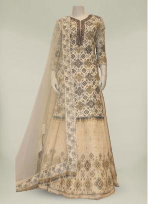 Cream Color Georgette Resham Work Suit