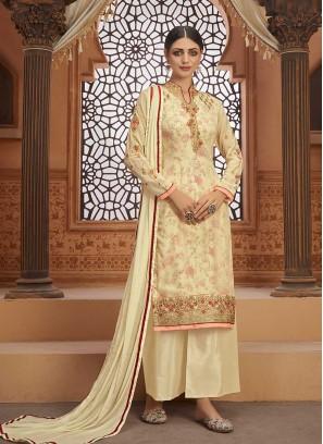 Cream Color Georgette Salwar Suit For Ladies