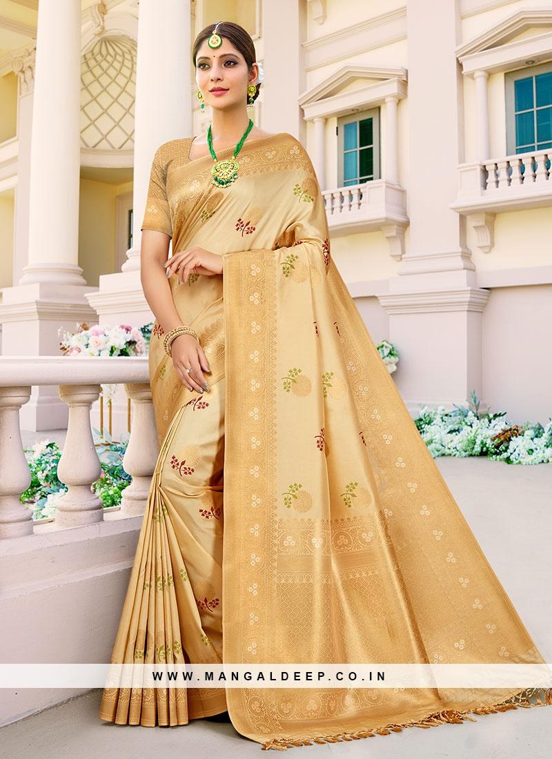 Cream Color Indian Wedding Saree