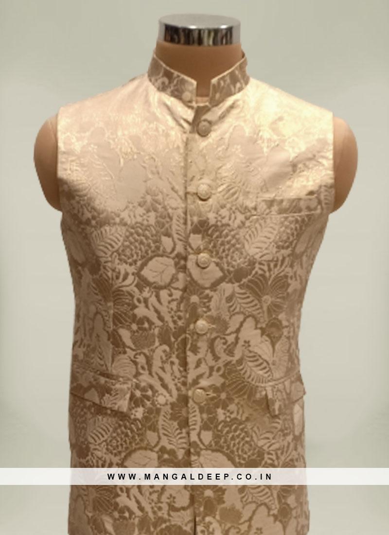 Cream Color Jacquard Silk Mens Koti