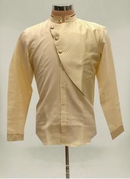 Cream Color Linen Cotton Short Kurta