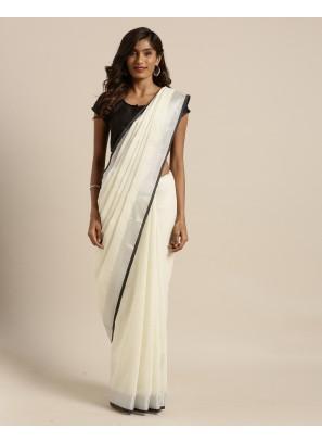 Cream Color Linen Silk Casual wear Saree