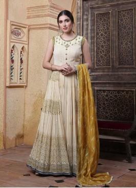 Cream Color Long Anarkali Gown