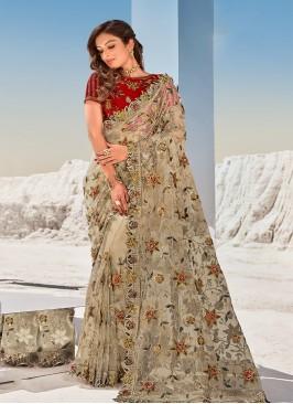 Cream Color Moti Work Net Saree