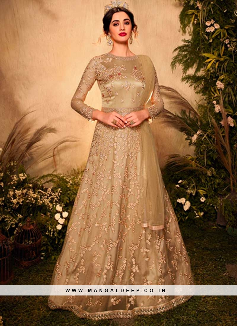 Cream Color Net Anarkali Salwar Suit