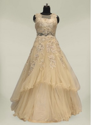 Cream Color Net Sequins Work Gowns For Wedding