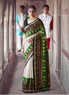 Cream Color Patola Silk Wedding Sarees For Bride