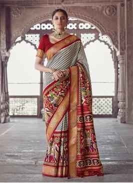 Cream Color Patola Silk Wedding Wear Saree
