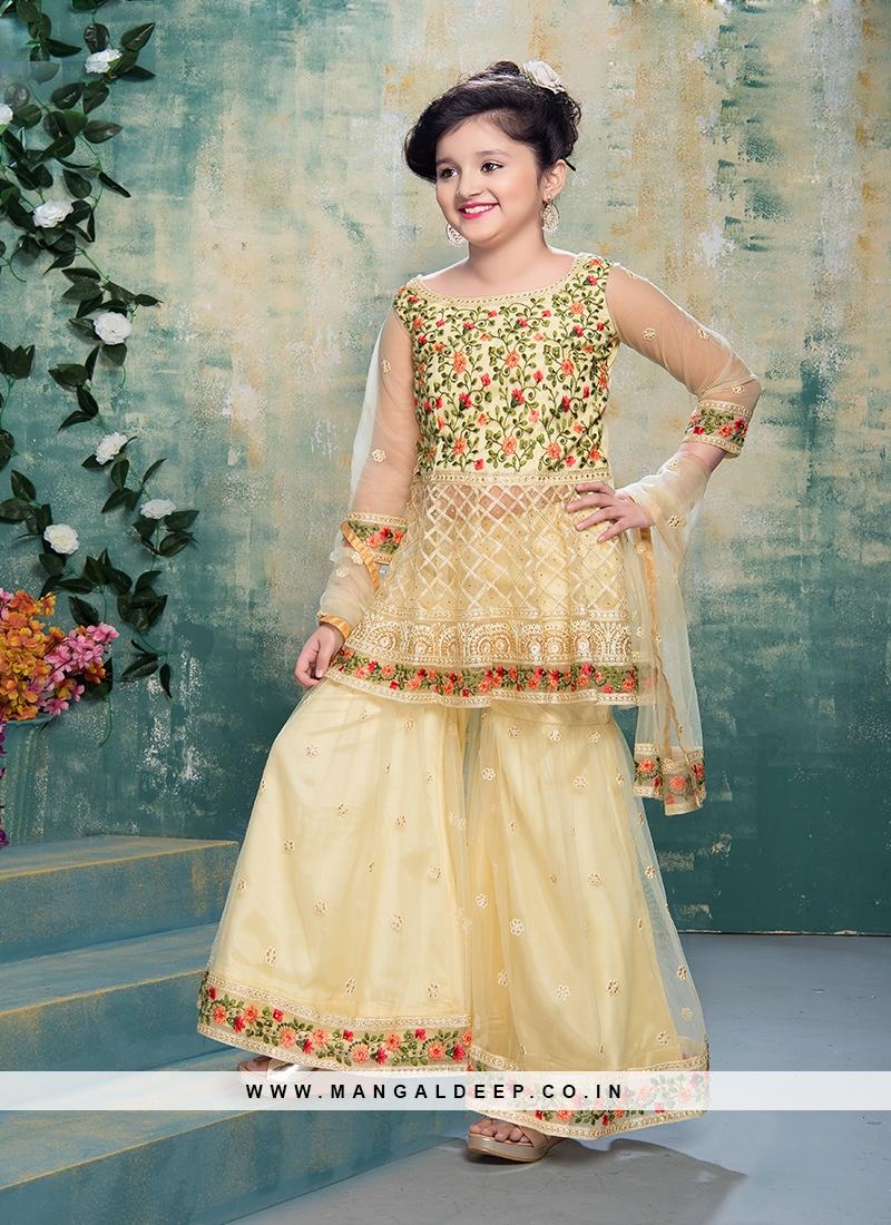 Cream Color Resham Work Net Gharara For Baby Girl