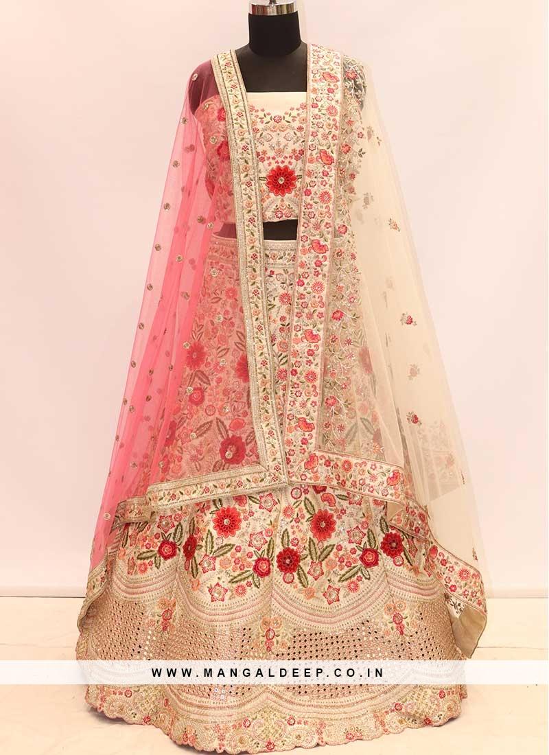 Cream Color Resham Work Wedding Lehenga