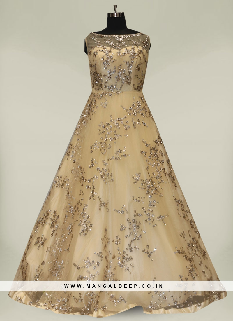 Cream Color Sequins Work Net Gown
