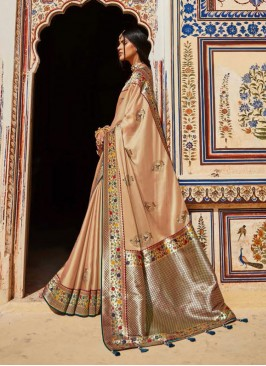 Cream Color Silk Dazzling Saree