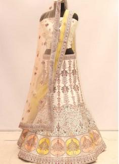 Cream Color Silk Diamond Work Fancy Lehenga