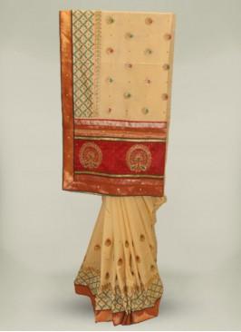 Cream Color Silk Embroidery New Design Saree