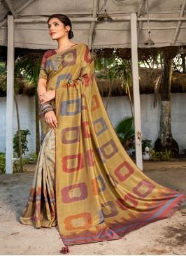 Cream Color Silk Party Wear Saree
