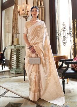Cream Color Silk Saree For Ladies