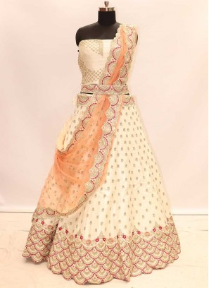 Cream Color Silk Wedding Lehenga