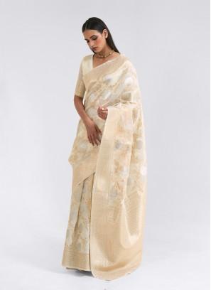 Cream Color Thread Work Linen Saree