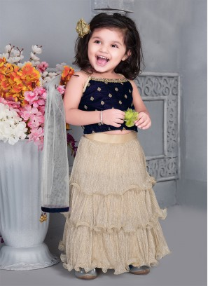 Cream Color Velvet Baby Girl Lehenga