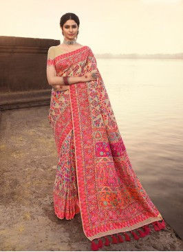 Cream Color Zari Work Silk Saree