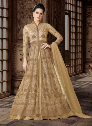 Cream designer Floor length anarkali Suit