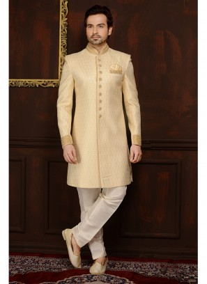 Cream Jaquard Silk Brocade Engagement Sherwani