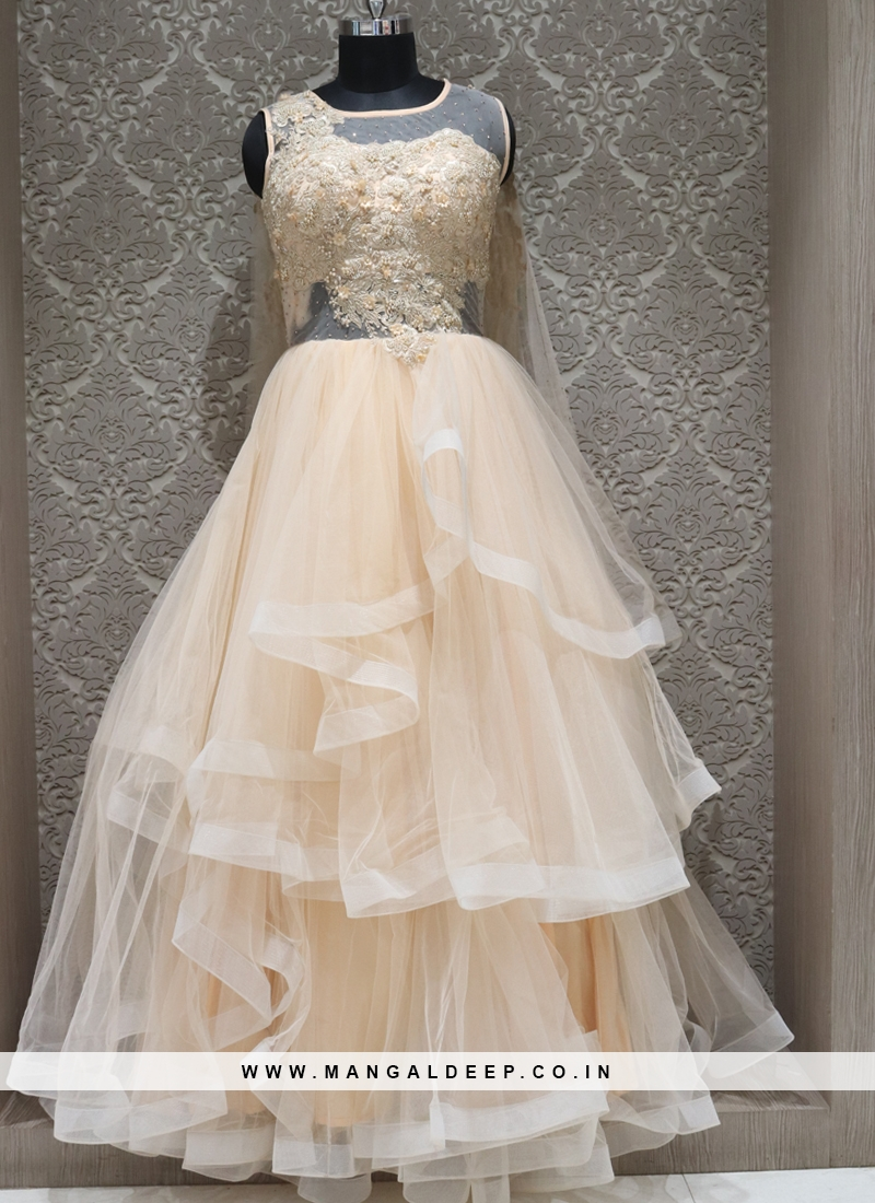 Cream Net Designer Reception Wear Gown