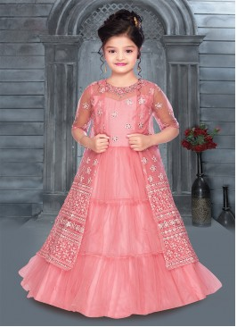 Cute Pink Color Mirror Work Girls Gown