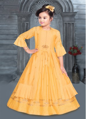 Cute Yellow Color Fancy Fabric Girls Gown