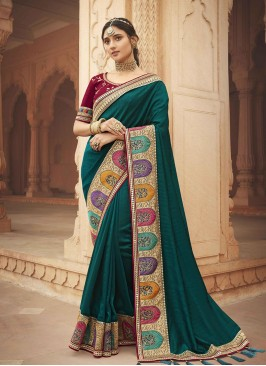 Dark Green Color Silk Elegant Saree