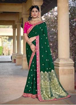 Dark Green Color Silk Embroidered Saree