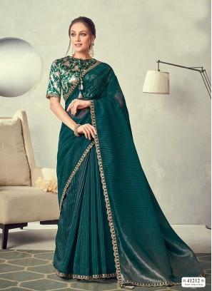 Dark Green Color Silk Lace Border Saree