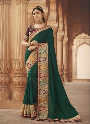 Dark Green Color Silk Latest Designer Party Wear Sarees