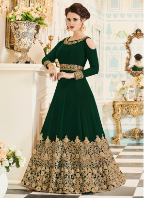 Dark Green Embroidered Anarkali Suit