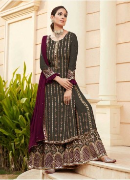 Dark Grey Color Embroidered Sharara Suit