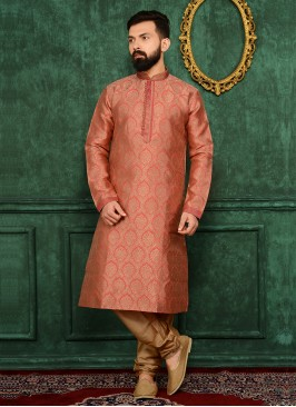 Dark Peach Churidar Kurta Payjama