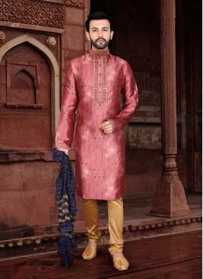 Dark Pink Color Jacquard Mens Kurta Pajama