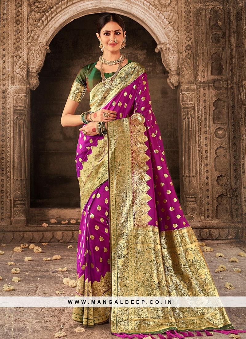 Dark Purple Banarasi Silk Saree