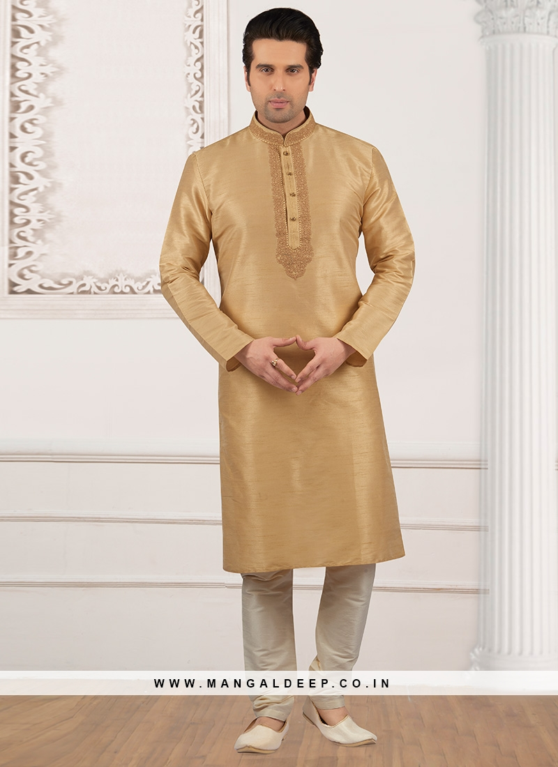 Dazzling Beige Color Party Wear Kurta Payjama