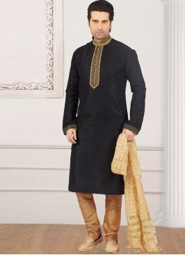 Dazzling Black Color Party Wear Kurta Payjama