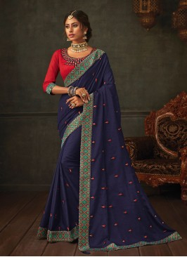 Dazzling Blue Color Festive Wear Embroidered Saree