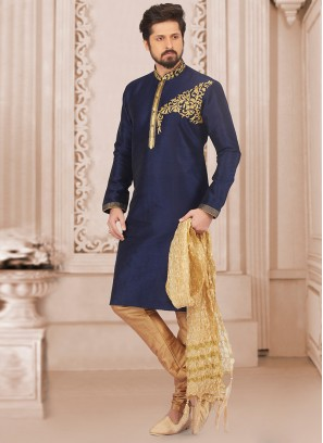 Dazzling Blue Color Party Wear Kurta Payjama