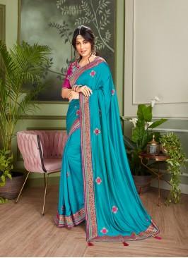 Dazzling Blue Color Wedding Saree