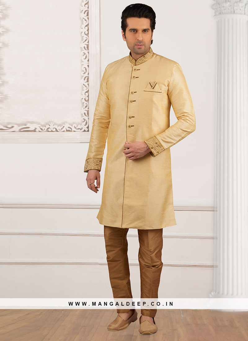 Dazzling Cream Color Party Wear Semi Indo Suit