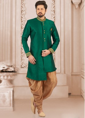 Dazzling Green Color Designer Semi Indo Suit
