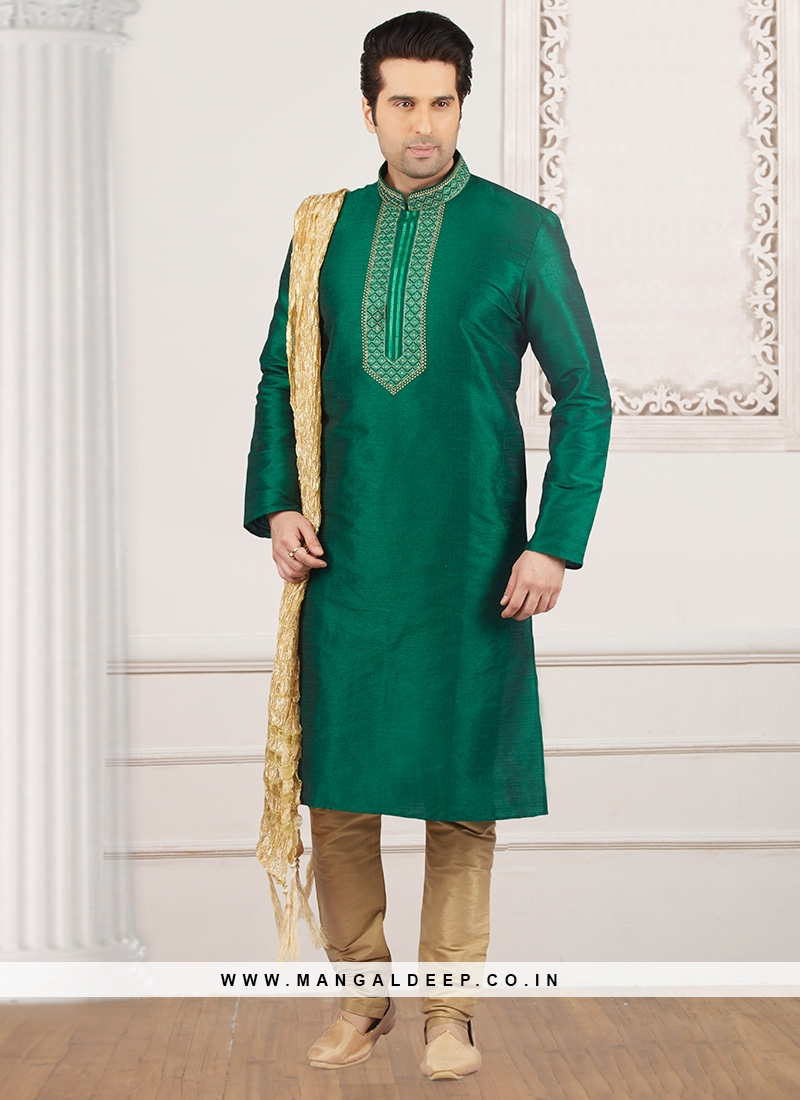 Dazzling Green Color Party Wear Kurta Payjama