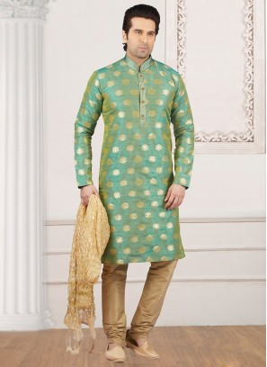 Dazzling Green Color Party Wear Kurta Payjama